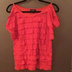 A.Byer cold shoulder ruffle front shirt.